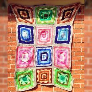 Vintage Neon Crochet Afghan Blanket 61x41